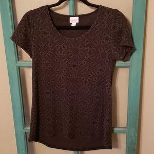 Lularoe XXS black and green pattern shirt